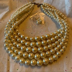 Cluster Pearl Necklace & Earrings